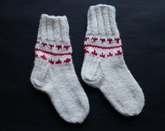 Hand knit wool socks for kids