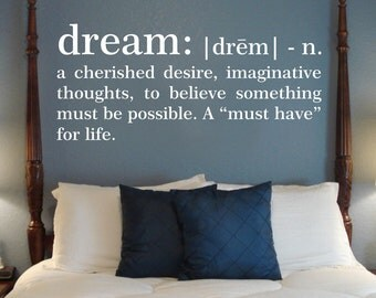 Dream Definition Wall Decal, Bedroom Wall Decal, Dream Wall Vinyl, Words  And Quotes