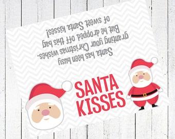 santa kisses bag topper printable - Santa Kisses Bag Toppers Printable