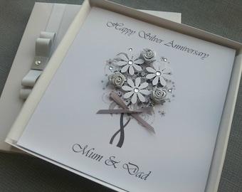 Silver 25th Wedding Anniversary Congratulations Card Handmade Personalised Keepsake Parents Grandparents Friends Boxed 3D