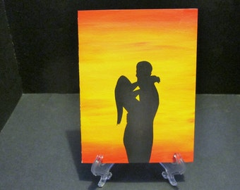 Lovers in Embrace - Sunset Silhouette Art Card