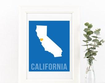 California Home Print – Custom California Print, California Wall Art