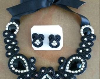 Soutache set; Necklace and earrings black