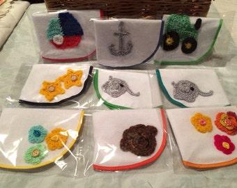 Crochet applique bib