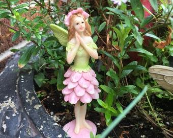 Miniature Fairy, Pink Flower Fairy, Fairy Figure, Fairy Garden, Terrarium Garden, Flower pot Garden