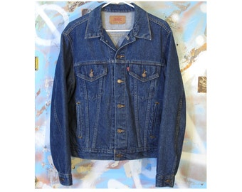 Levis Denim Jacket / Mid 80's / 1980's / Dark / Blue / Indigo / Mint / Very Clean / Vintage / Rock and Roll / Punk / Made in USA / Classic
