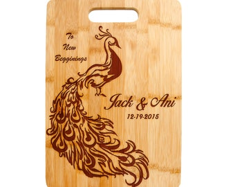 Bamboo Cutting Board Laser Engraved, Wedding Present, Anniversary, Housewarming Gift Peacock Bird Feathers New Beginnings Newly Weds CTB-122