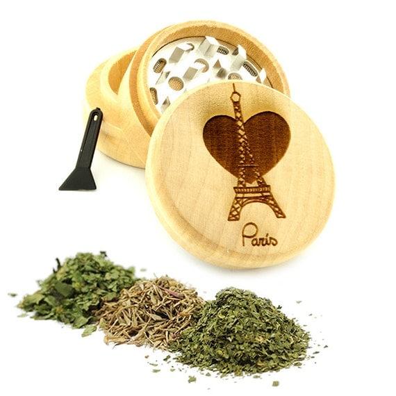 Paris Design Engraved Premium Natural Wooden Grinder Item # PW61716-45