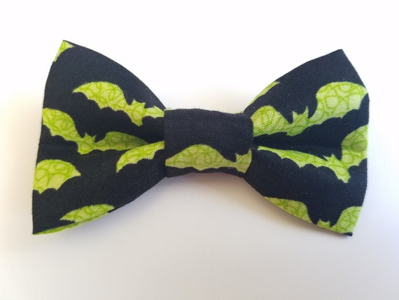 Green Bat Halloween Bow for Cat or Small Dog Collars, Matching Velcro Collar, 100% Sales Goes to Feeding Feral Cats