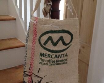 Upcycled burlap coffee sack shopper