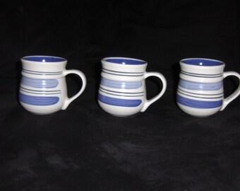 Pfaltzgraff Ivory and blue coffee mugs--set of 3