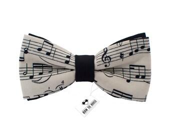 Music notes bow tie   100% cotton bow tie   Black-white bowtie   Children bow tie   Baby bow tie   Mens bow tie