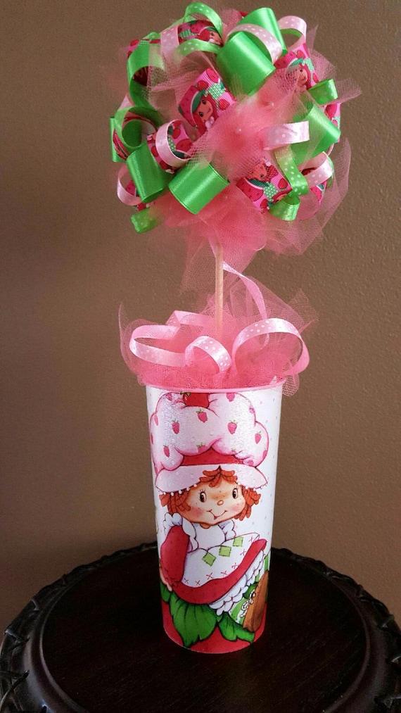 Strawberry Shortcake Ribbon Topiary Birthday Party Centerpiece