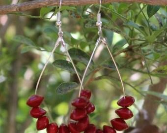 Handmade Red Sandalwood Seed Teardrop Earrings