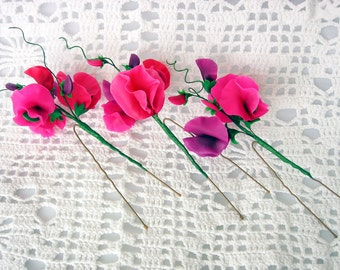 "Hair pins ""Sweet pea"" made of air dry polymer clay"