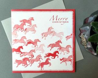 Prancing Red Christmas Ponies GREETING CSARD - XR21