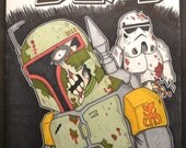 WALKING DEAD COMIC zombie boba fett sketch cover