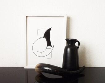 Minimal Abstract Art, Original Artwork, Black Form, 40x30cm