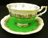 Royal Albert pompadour apple green gold gilt Tea cup and saucer