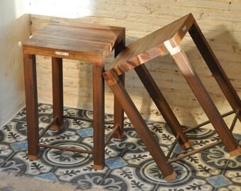 Elm & rusty metal stool