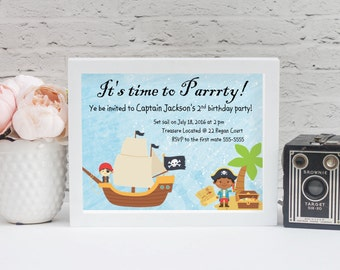 Pirate boy and girl party invitation