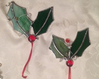 Stained Glass Holly Tree Ornament