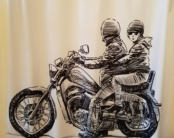 Motorcycle Shower Curtain, FREE SHIPPING