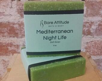 Mediterranean Night Life, Sea Salt Soap Bar (Vegan, Palm Free)