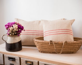 Pillow Covers from vintage Hungarian Linen/Grain sack/woven/ vintage red striped pillow cover