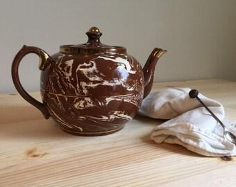 vintage marbled teapot