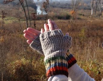 Gray striped fingerless gloves