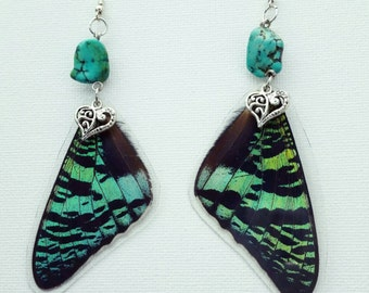 Real turquoise Moth wing earrings with heart charm