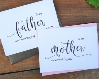 Set of 2, To My MOTHER Card, To My FATHER Card, Mother of the Bride Card, Father of the Bride Card, Mother of the Bride Gift, Father Gift