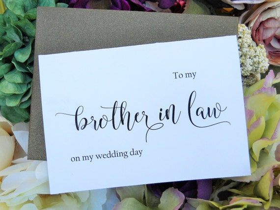 TO My BROTHER in LAW on my Wedding Day Card, Shimmer Envelope,To My ...