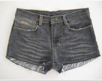 tsubi ksubi Cut Off Vintage Grey Distressed Hot Shorts Size 8 - 10