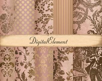 Digital Paper, Digital Scrapbook Paper, Pink Rose Digital, Pink Brown Toile Shabby Rose Paper, Damask Scrapbook Paper. No. V3.12.DA
