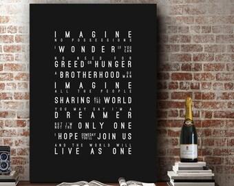 John Lennon Imagine Inspired Lyrics Music Wall Art Song Lyrics Home Decor Anniversary Gift Wedding Gift Typography Lyric PRINT