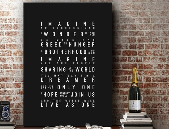 Music Inspired Wall Decor : John lennon imagine inspired lyrics music wall art song