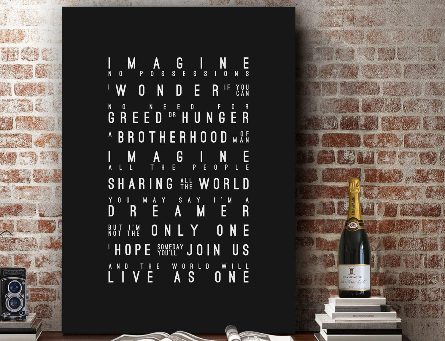 John Lennon Imagine Inspired Lyrics Music Wall Art Song Lyrics