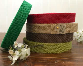 "7/8"" Christmas Jute Burlap Ribbon - 5, 10, 20 yards - HBCA12S4"