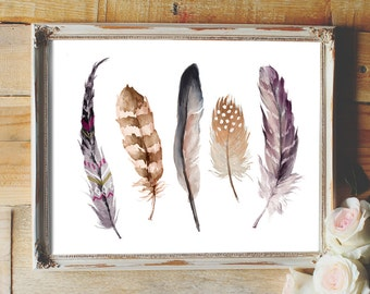 Feather print, feathers, feathers wall art, feather printable, feather art print, watercolor feathers, feather wall decor, tribal, dorm Room