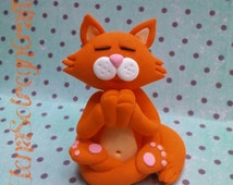 Meditating cat polymer figurine, Yoga cat, Meditation, Zen, Buddha