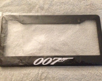 007 with Guns James Bond -  Black Automotive License Plate Frame - Secret Agent