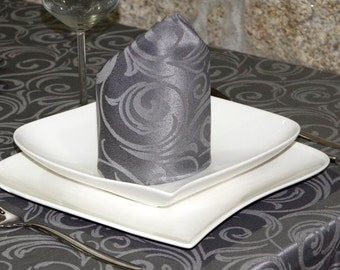 Luxury Dark Grey Napkins - Anti Stain Proof Resistant - Pack of 6 units - Ref. Lyon