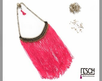 Necklace Fuchsia MIXI / chains / Fringes / boho / Statement