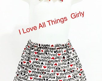 Minnie Mouse and Micky Mouse Toddler Skirt with Hair Bow Clip