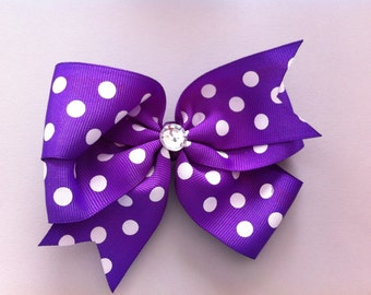 Purple with White Polka Dots Hair Bow