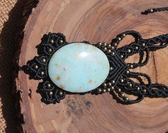 Obsidian macrame necklace with Celestina.