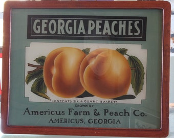 Reverse Painted Glass Peaches Sign