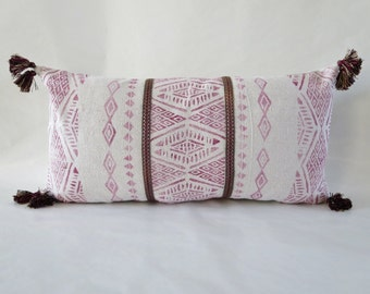 Global Inspired, Throw Pillow, Tassels ,Burgundy,Pink,Embroidered trim,Rustic Modern, Boho decor,Block Printed,Triangles, Drop Cloth Canvas,